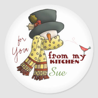 Custom Snowman Baking Stickers