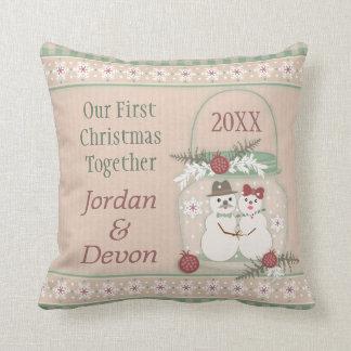 Custom Snowman Couple 1st Christmas Pillow