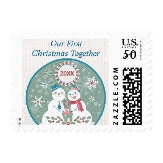 Custom Snowman Couple 1st Christmas Postage Stamp