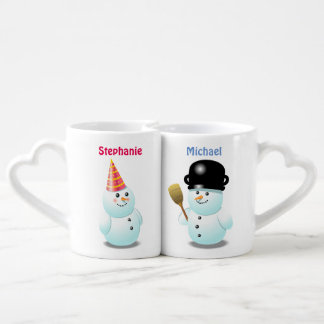 Custom Snowman Couple Cartoon Coffee Mug Set