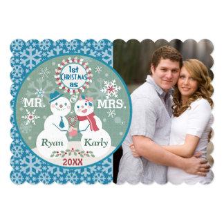 Custom Snowman Couple's First Christmas Photo Card