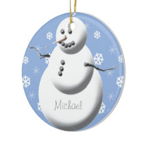 Custom Snowman Cute Baby's First Christmas Tree Ceramic Ornament