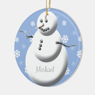 Custom Snowman Cute Baby's First Christmas Tree Double-Sided Ceramic Round Christmas Ornament