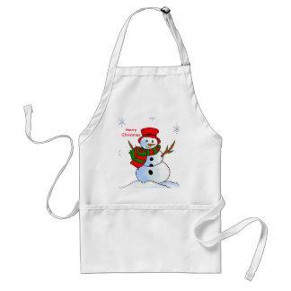 Custom snowman on snow and snowflakes adult apron
