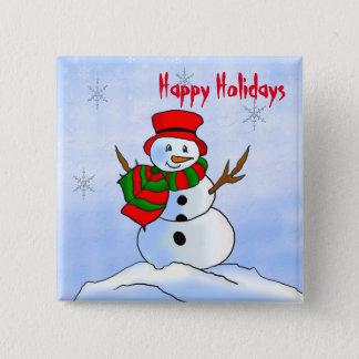 Custom snowman on snow and snowflakes button