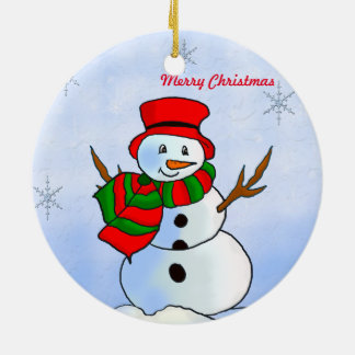 Custom snowman on snow and snowflakes ceramic ornament