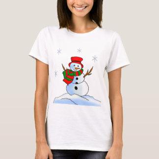 Custom snowman on snow and snowflakes T-Shirt