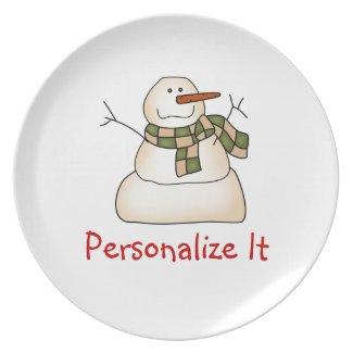 Custom Snowman Plate
