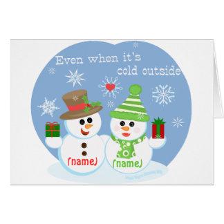 Custom Snowman Sweethearts Christmas Card