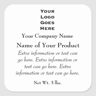 Custom Soap or Cosmetics Label with Logo Square Sticker