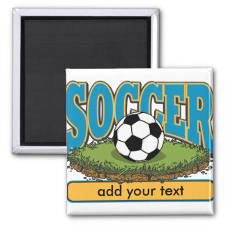 Custom Soccer Add Text 2 Inch Square Magnet