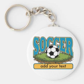 Custom Soccer Add Text Basic Round Button Keychain
