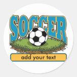 Custom Soccer Add Text Classic Round Sticker