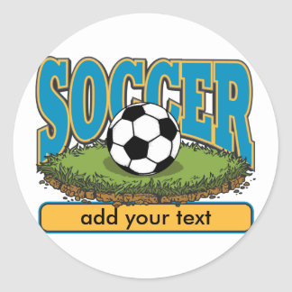 Custom Soccer Add Text Classic Round Sticker