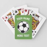 """Custom soccer ball playing cards for kids Birthday<br><div class=""""desc"""">Custom soccer ball and name playing cards. Personalized playing cards for kids and adults. Sporty Birthday gift idea for children, fusbol fan, football player, coach, dad, husband, boy, girl, mom, brother, sister, trainer, friend, co worker, boss, retiree, son, daughter, grandchildren, club owner, bar, pub, cafe etc. Sports theme presents for...</div>"""
