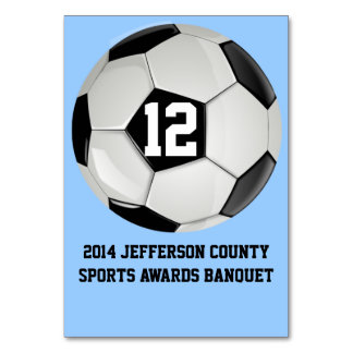 Custom Soccer Banquet Table Number Card