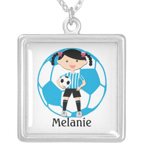 Custom Soccer Girl 2 and Ball Blue | White Stripes Custom Jewelry