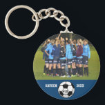 """Custom Soccer Photo Collage Name Team Number Keychain<br><div class=""""desc"""">This custom soccer photo collage features your uploaded soccer photos, a black and white soccer ball and your player's (or coach's) name, team name and number. All set against a colorful background that can be changed to match your team colors. Click on customize and then the small eye dropper. The...</div>"""