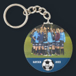 "Custom Soccer Photo Collage Name Team Number Keychain<br><div class=""desc"">This custom soccer photo collage features your uploaded soccer photos, a black and white soccer ball and your player&#39;s (or coach&#39;s) name, team name and number. All set against a colorful background that can be changed to match your team colors. Click on customize and then the small eye dropper. The...</div>"
