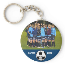 Custom Soccer Photo Collage Name Team Number Keychain