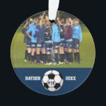 "Custom Soccer Photo Collage Name Team Number Ornament<br><div class=""desc"">This custom soccer photo collage features your uploaded soccer photos, a black and white soccer ball and your player"