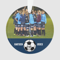 Custom Soccer Photo Collage Name Team Number Ornament at Zazzle