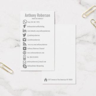 Custom social media icons business card