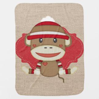 Custom Sock Monkey Baby Shower Gift Stroller Blanket