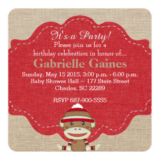 Custom Sock Monkey Birthday Party Invitation
