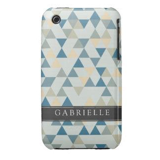 Custom Soft Blue Triangles iPhone 3 Cover