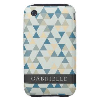 Custom Soft Blue Triangles iPhone 3 Tough Cover