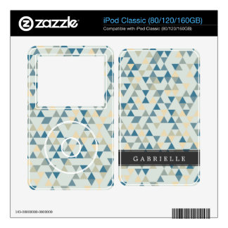 Custom Soft Blue Triangles Decals For The iPod