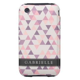Custom Soft Pink Triangles Tough iPhone 3 Case