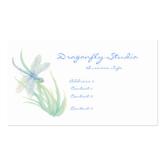 Custom Soft Watercolor Blue Green Dragonfly Business Card Template
