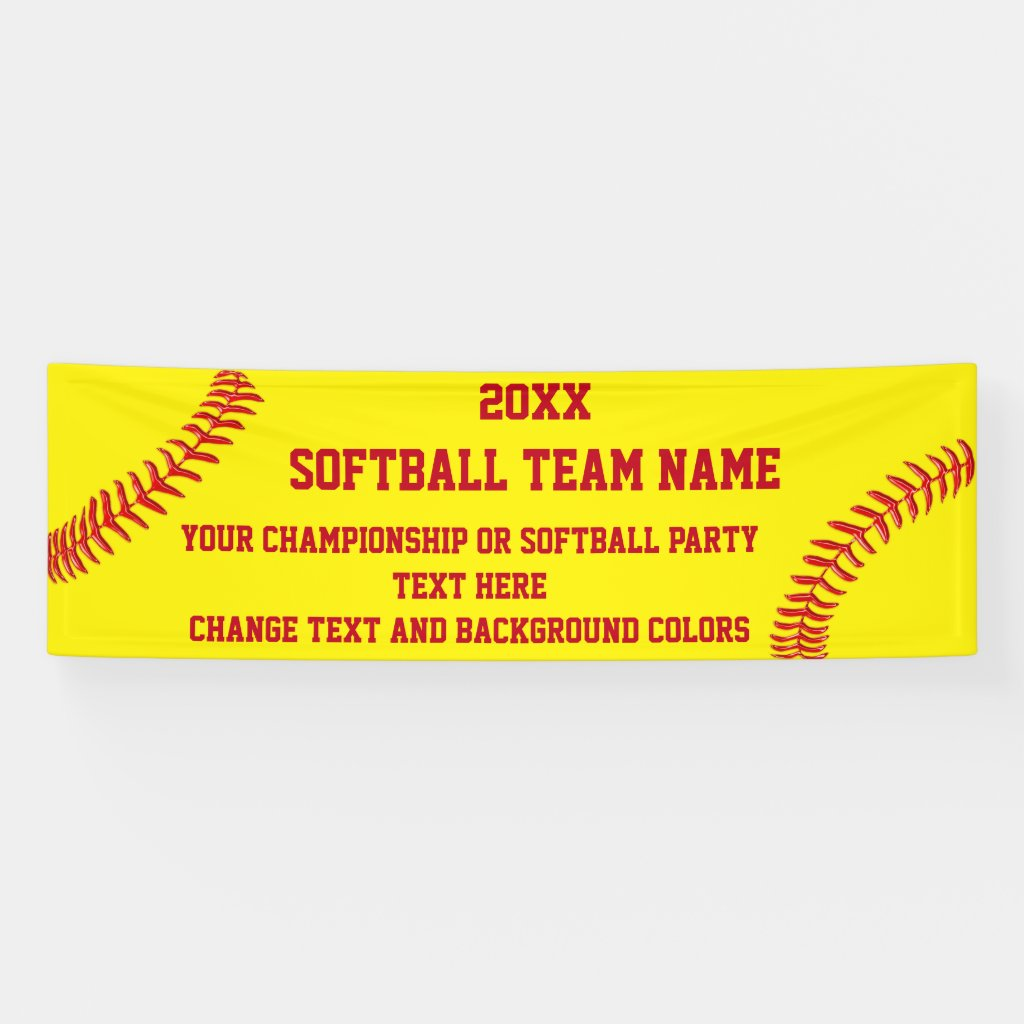 Custom Softball Banners with Your Text and Colors
