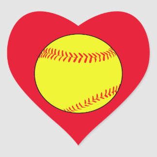 Custom Softball Heart Scrapbook Stickers