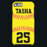 "Custom Softball iPhone 6 Case<br><div class=""desc"">Custom Softball iPhone 6 Case: Add your own text to make your own personalized softball IPhone 6 Case. These are great for softball players,  coaches,  parents and fans. Check out our shop - Custom Sports Gear - for lots of other great softball gifts and accessories!</div>"