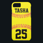 "Custom Softball iPhone 7 Case<br><div class=""desc"">Custom Softball iPhone 7 Case: Add your own text to make your own personalized softball iPhone 7 Case. These are great for softball players,  coaches,  parents and fans. Check out our shop - Custom Sports Gear - for lots of other great softball gifts and accessories!</div>"