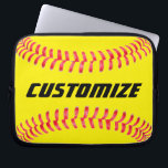 """Custom Softball Laptop Sleeve<br><div class=""""desc"""">Custom Softball Laptop Sleeve: Add your own text to make your own personalized softball Laptop Sleeve. These are great for softball players,  coaches,  parents and fans.</div>"""