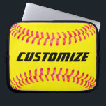 "Custom Softball Laptop Sleeve<br><div class=""desc"">Custom Softball Laptop Sleeve: Add your own text to make your own personalized softball Laptop Sleeve. These are great for softball players,  coaches,  parents and fans.</div>"