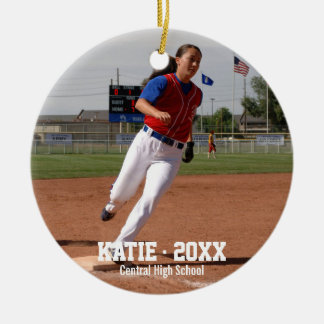 Custom Softball Photo Player Name, School Year Ceramic Ornament