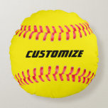 "Custom Softball Pillow<br><div class=""desc"">Custom Softball Pillow: Makes a great gift for softball player, fans or coaches. Add your own text in the text box, or leave it Pillow for a simple softball design. Features high quality red stitches and the standard yellow softball color. Check out our shop - Custom Sports Gear - for...</div>"