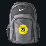 "Custom Softball Player Backpack<br><div class=""desc"">Custom Softball Player Backpack: Add your own customized jersey number,  initials or even team name. A great gift for softball players,  coaches or fans.</div>"