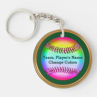 Custom Softball Team Gifts, Rainbow Colored Ball Keychain
