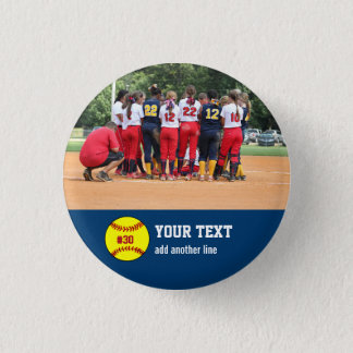 Custom Softball Team or Player Photo Name Number Button