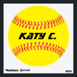 """Custom Softball Wall Decal<br><div class=""""desc"""">Custom Softball Wall Decal: Add your own text to make your own personalized softball Wall Decal. These are great for softball players,  coaches,  parents and fans.</div>"""