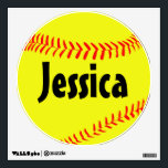 "Custom Softball Wall Decal<br><div class=""desc"">Custom Softball Wall Decal: Create a customized softball wall decal by typing any text (team name,  player name,  jersey number,  etc.) in the text box. Makes a great decoration for a softball player&#39;s bedroom,  or for the locker room or fieldhouse!</div>"