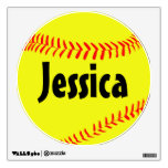 Custom Softball Wall Decal<br><div class='desc'>Custom Softball Wall Decal: Create a customized softball wall decal by typing any text (team name,  player name,  jersey number,  etc.) in the text box. Makes a great decoration for a softball player&#39;s bedroom,  or for the locker room or fieldhouse!</div>