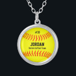 """Custom Softball with Player Name, Number, Team Silver Plated Necklace<br><div class=""""desc"""">This cute necklace features a yellow softball with your player&#39;s name,  number and team name.  A perfect keepsake gift for your favorite player!  Check out our other softball themed gifts by clicking on the Colorfulgalshop logo below.</div>"""