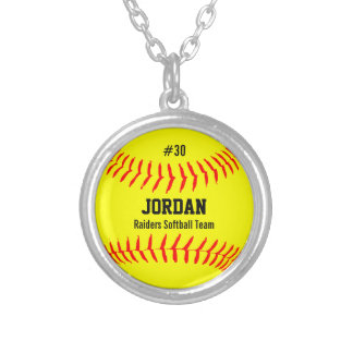 Custom Softball with Player Name, Number, Team Silver Plated Necklace